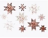 Fröbelsterne Graphic 40 Streifen 1,5/2,5 weiß/rosegold