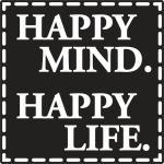 """Rayher Labels D: """"Happy Mind. Happy Life"""", 50x50mm, SB-Btl 1Stück"""