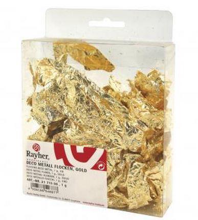 Rayher Deco-Metall-Flocken, gold, SB-Ka. 1 Gramm