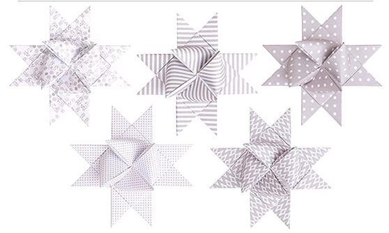 Rico Fröbelsterne weiß kitt Mix XL Papierstreifen