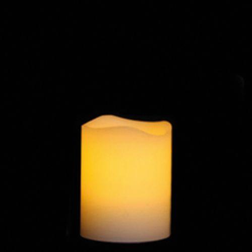 Efco Echtwachskerze mit LED inkl. Batterie ø 5 x 6,5 cm 4 Stück creme