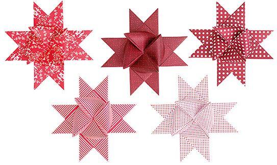 basteltrends rico fr belsterne rot wei mix xl papierstreifen bastelartikel. Black Bedroom Furniture Sets. Home Design Ideas